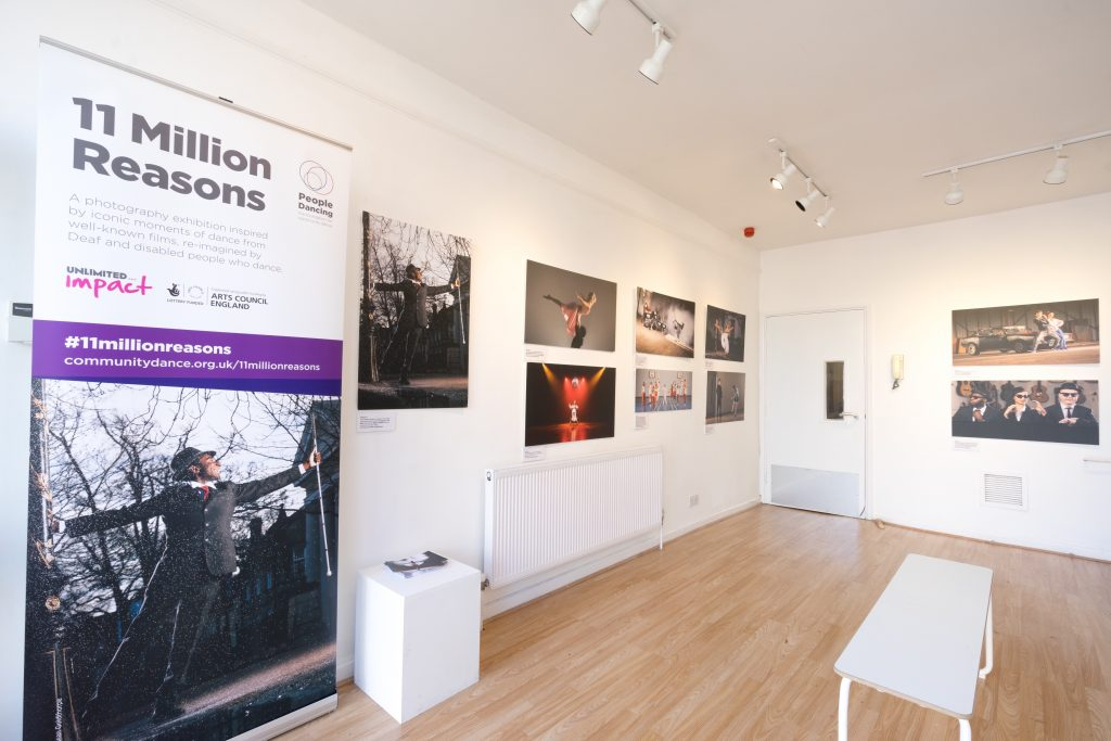 11 Million Reasons exhibition space, showing works of art created by People Dancing