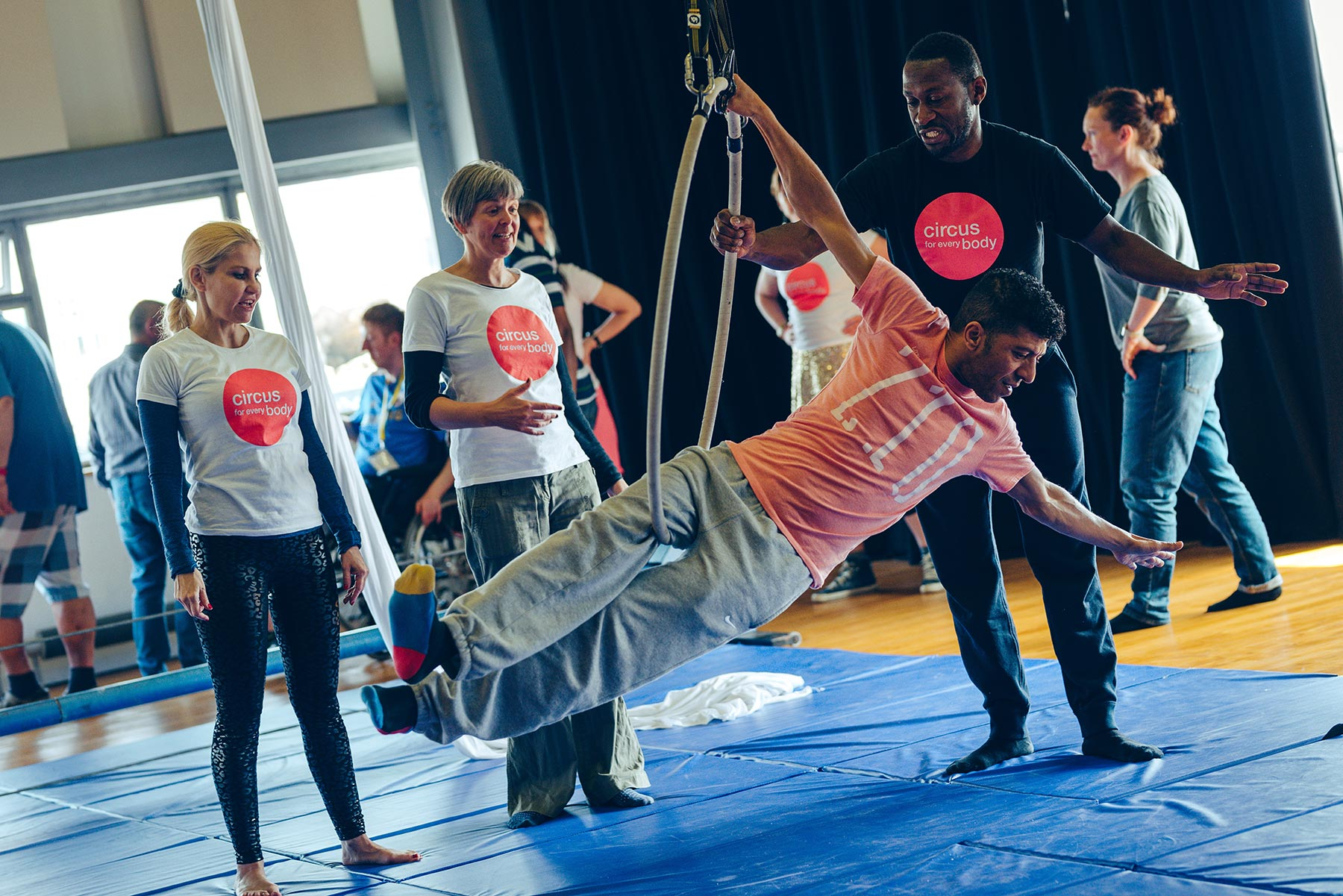 Extraordinary Bodies artists lead a workshop for aerial circus skills at Theatre Royal Plymouth.