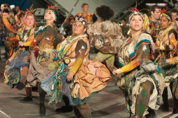 Performers rehearsing in costumes for Breathe Battle for the Winds