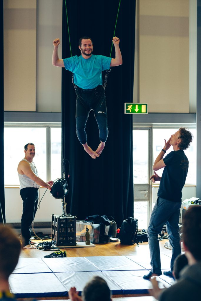 Participants in the Creative Explorations workshops try out aerial circus.