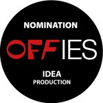 This is a black badge that reads Nomination Offies IDEA production. It shows that Mid Life has been nominated for an off West End award