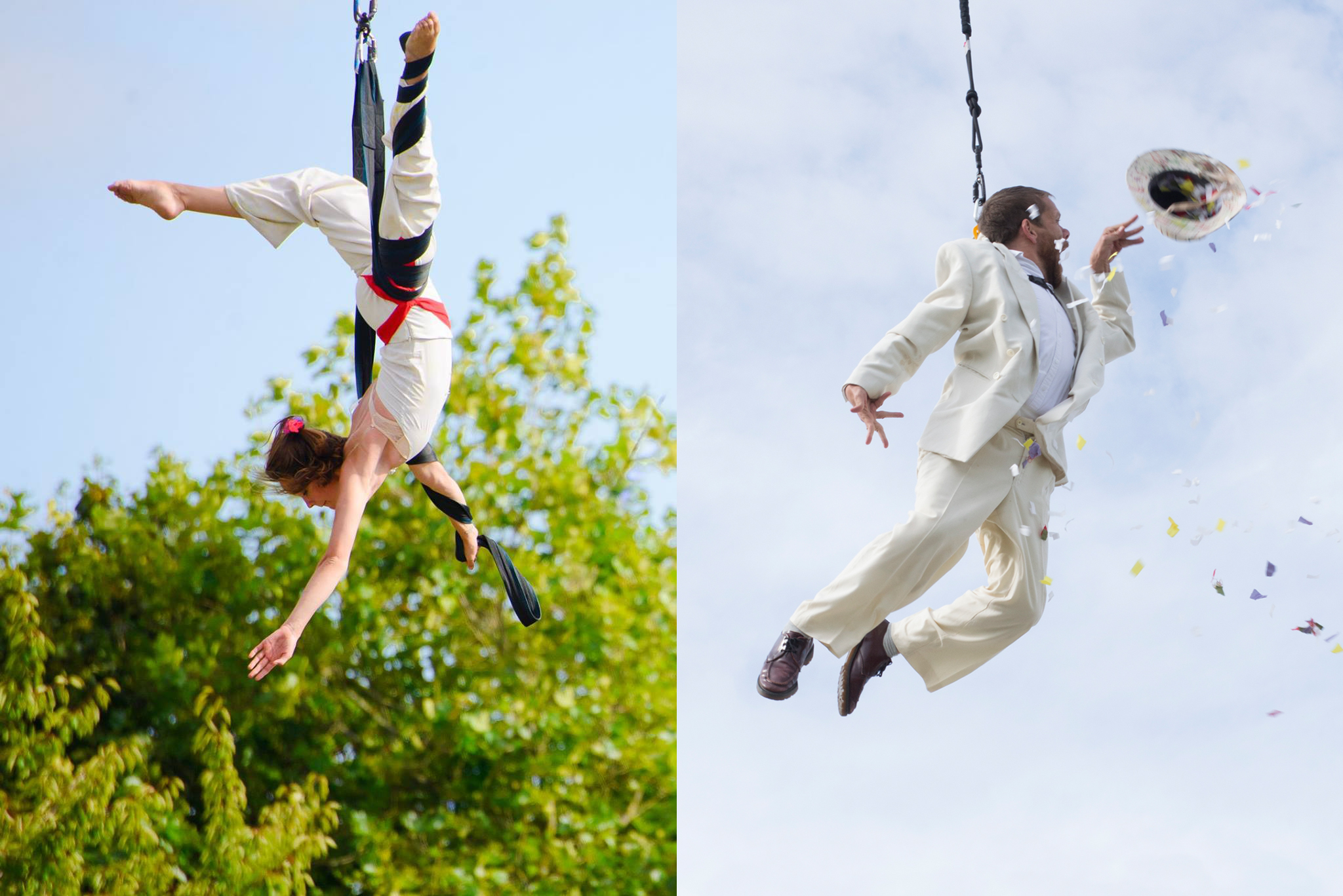 2 photographs: one of circus artist Aislin Mulligan performing aerial with straps. The second: Jamie Beddard flying in the air in a harness, throwing a hat and confetti.