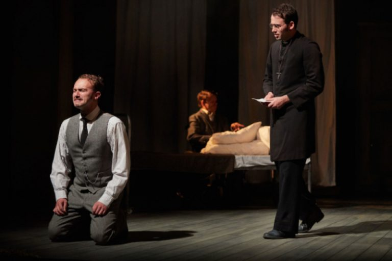 Alex Wilson, Jamie Beddard and Max Dinnen in The Elephant Man, Bristol Old Vic Theatre School