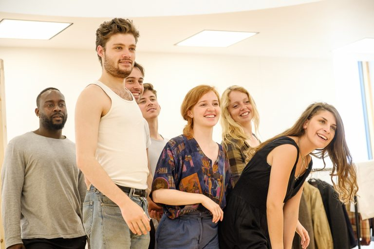 In the rehearsal room: The group of BOV Theatre School students are laughing and look relaxed.