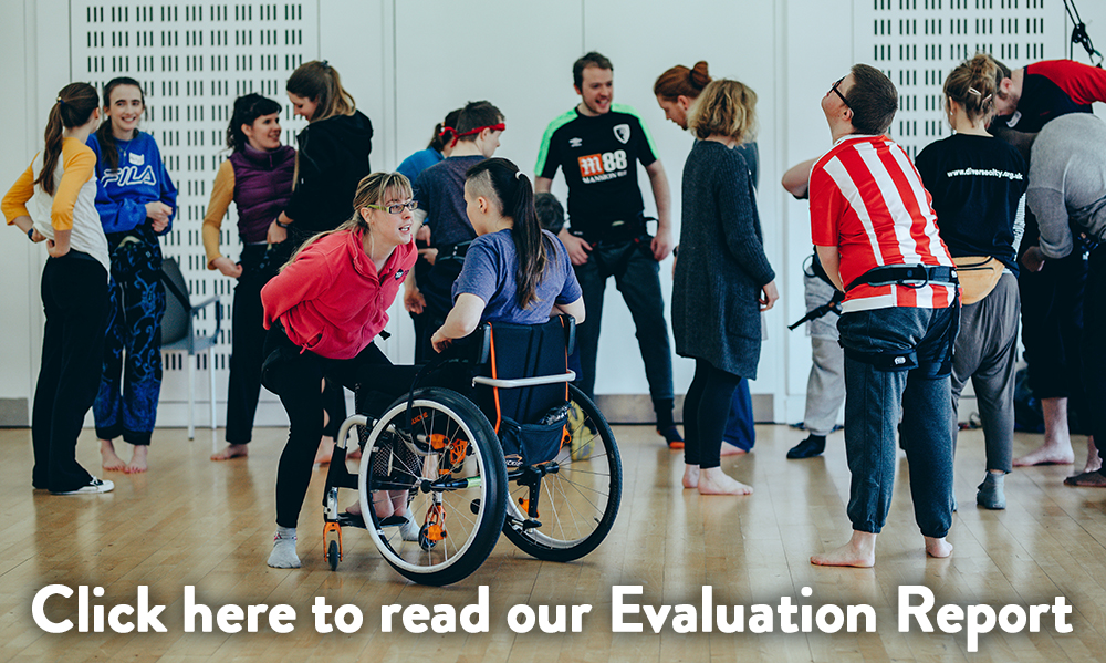 "A diverse group of young performers interact in a rehearsal space. In the foreground, a young woman in a wheelchair speaks with another young woman who smiles at her. Copy at the bottom of the image reads: ""Click here to read our Evaluation Report"""