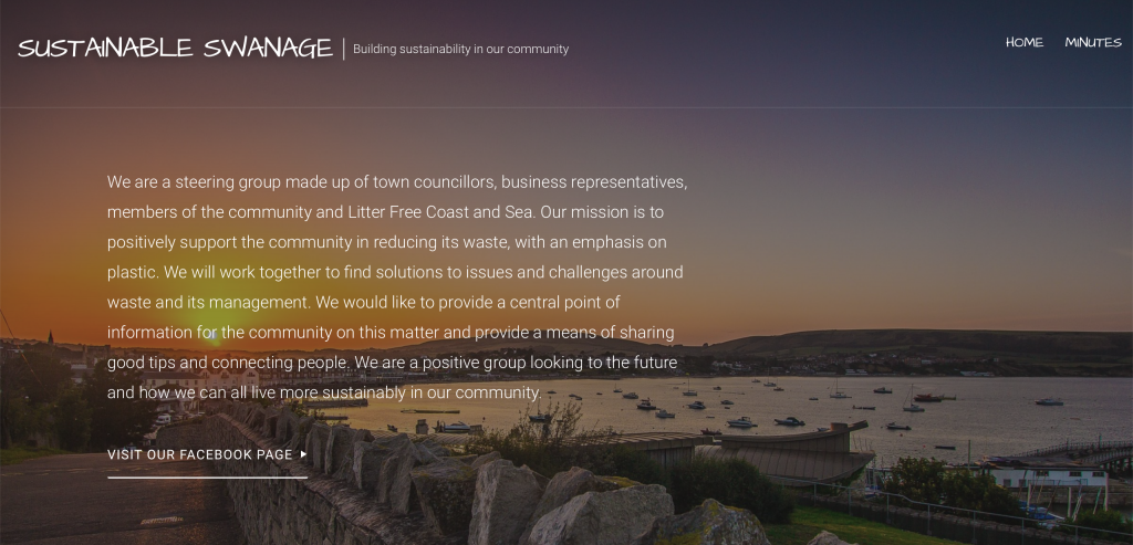 Screenshot of Sustainable Swanage website: Photo of a sunset by the sea in the background and logo and white copy presenting the company.