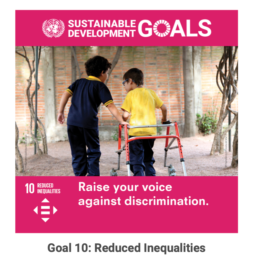 "Screenshot of the United Nations' website showing a young disabled boy walk with the help of a non disable boy. Pink background and white copy reads: ""Sustainable Development Goals : Raise you voice against discrimination""."