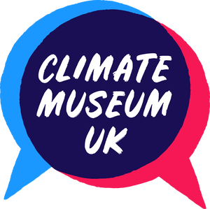 Climate Museum UK logo: Name written in white over two speech bubbles in red and blue.