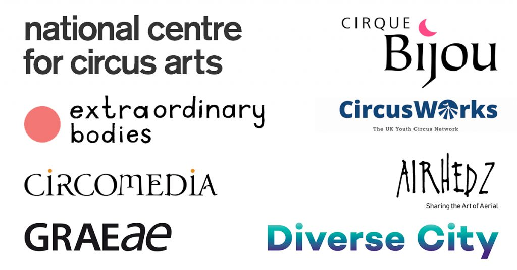 Logos for National Centre for Circus Arts, Extraordinary Bodies, Circomedia, Graeae, Cirque Bijou, Circus Works, Airhedz and Diverse City.