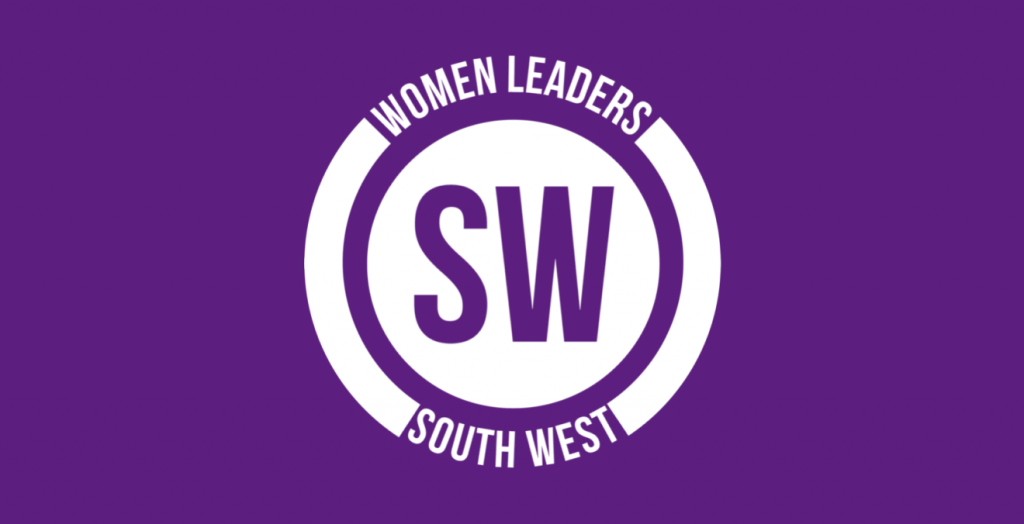 "Purple background and white logo on top weading: ""Women Leaders South West"" in the shape of a circle."