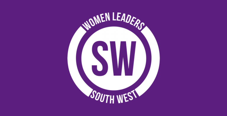 """White logo on a purple background reading: """"Women Leaders South West""""."""
