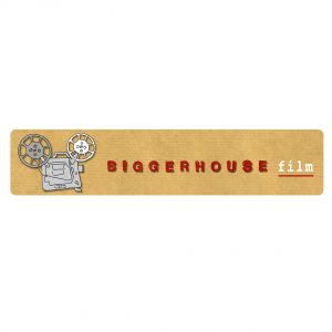 """Biggerhouse Film logo: A beige rectangle with """"Biggerhouse"""" in bold capital red letters and """"film"""" in smaller white typewriter-style letter. Hand-drawn old school camera on the left."""