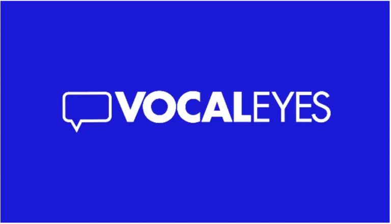 Vocal Eyes logo - a white speech bubble on a blue background