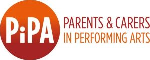 A red and orange circle contains the PiPA logo. Alongside it is written Parents and Carers in Performing Arts