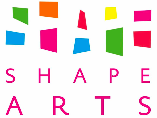 Shape Arts logo - brightly coloured shapes above pink text on a white background