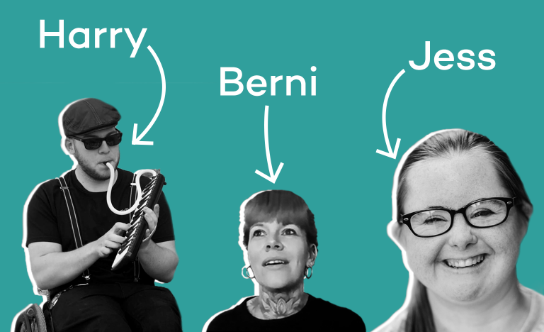 Harry, Berni and Jess, three of Diverse City's Unexpected Leaders on a teal background.
